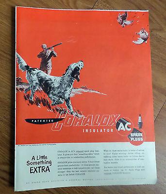 1950 AC Spark Plugs Ad English Setter Dog    Hunting Birds Pheasants