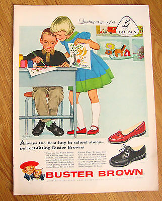 1958 Buster Brown Shoes Ad Children Painting Artwork