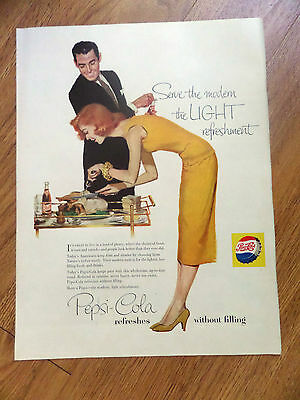 1956 Pepsi Cola Soda Ad  Couple Carving the Thanksgiving Turkey