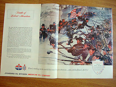 1962 American Oil Ad Americana Series Battle of Lookout Mountain