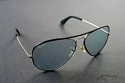 Vintage Aviators 58mm Ray-Ban Leathers with Blue Tint and Original Case