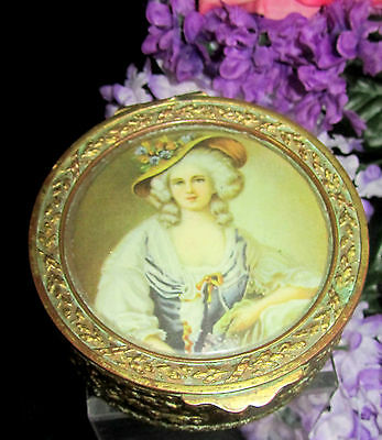 ANTIQUE French GILT metal TRINKET jewelry BOX repousse CASTING hinged PORTRAIT