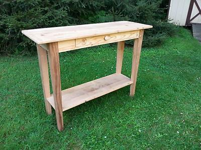 """Amish Built Reclaimed Barn Wood Hall Sofa Table W/ Drawer -Unfinished -48""""Wx36""""H"""