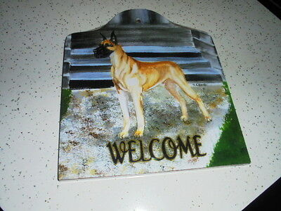 Great Dane Plaque New (Handcrafted By Animal Artworks Llc Roughly 8 1/4 X 7