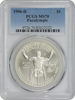 1996-D Wheel Chair Paralympic Commemorative Dollar MS70 PCGS Mint State 70