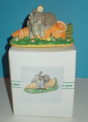 Charming Tails Binkey Bunny and Makenzie Mouse Sleeping on Carrot # 97/718