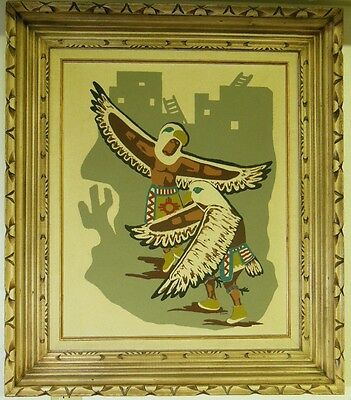"vtg. Navajo Sand Painting "" Eagle Dancers "" LARGE 28 1/2"" x 32 1/2"" by R DENO"