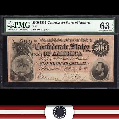 T-64 1864 $500 STONEWALL JACKSON Confederate Currency CSA.  PMG 63 EPQ   10261