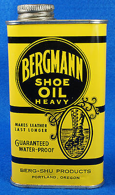 Vintage Bergmann Heavy Shoe Oil 8 oz Tin Can Portland, Oregon Canco