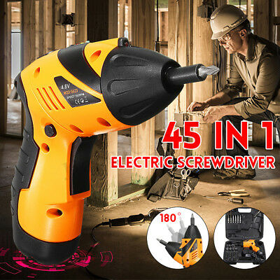 Foldable Electric Drill Cordless Screwdriver Bits Household Sockets Set 45in1