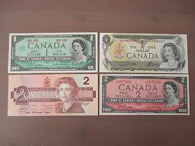 Lot Of 4 Different Crisp Cu Canada Canadian $1.00 And $2.00 Notes