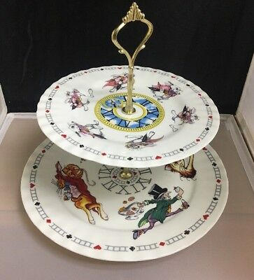 Paul Cardew Alice In Wonderland 2 Tier Tidbit Server Dessert Cake Stand EXC