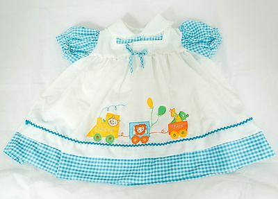 Vintage Celanese Fortrel Baby Dress Circus Train Blue Checked Pinafore 6 Months?