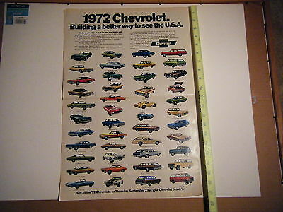 "CHEVROLET DEALER ADVERTISING BROCHURE 1972 FEATURES 45 MODELS 29"" X 21"" RARE vtg"