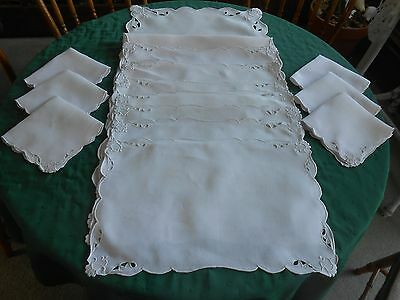 Madeira Embroidered Light Pink Linen Placemats&napkins With Runner,  Circa1920