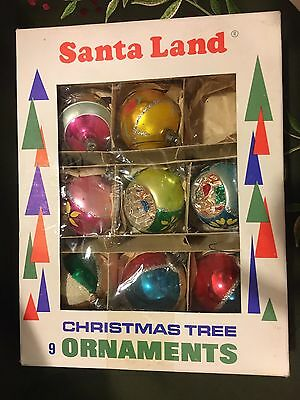 8 Vintage Santa Land Glass Christmas Tree Ornaments Poland