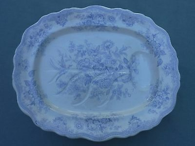 Asiatic Pheasants Antique Blue Transferware Meat Platter w/ Well 20""