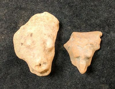 2 Mayan Cenote Yucatan Dig Pre-Columbian Stone Ancient Artifact Mask Heads L4Z