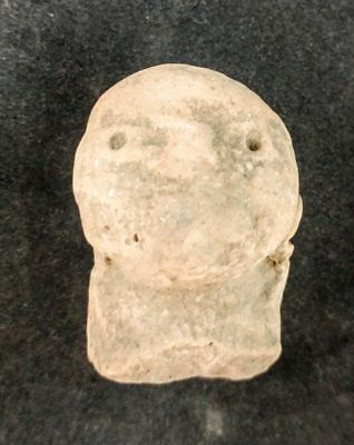"2"" Mayan Cenote Yucatan Dig Pre-Columbian Stone Ancient Artifact Head w/Case L4Z"