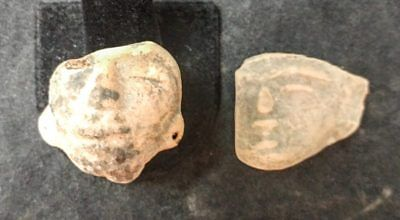 2 Mayan Cenote Yucatan Dig Pre-Columbian Stone Ancient Artifact Heads L4Z