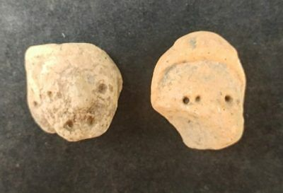 2 Mayan Cenote Yucatan Dig Pre-Columbian Stone Ancient Artifacts Heads L4Z