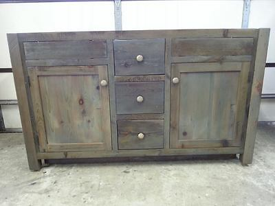 "Amish Built Unfinished Reclaimed Barn Wood 60"" Custom Bathroom Vanity Cabinet"