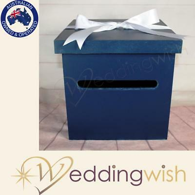 Navy Blue Timber Wishing Well Box, Present Card Box, Wedding Engagement