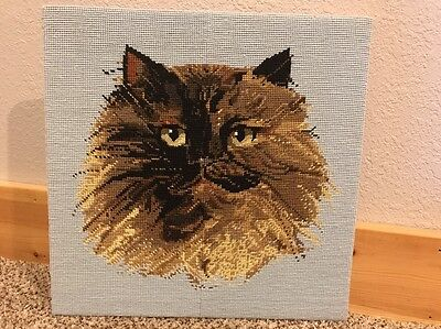 Vintage Completed Mounted Needlepoint Tapestry Cat Petit Point Eyes 14x14