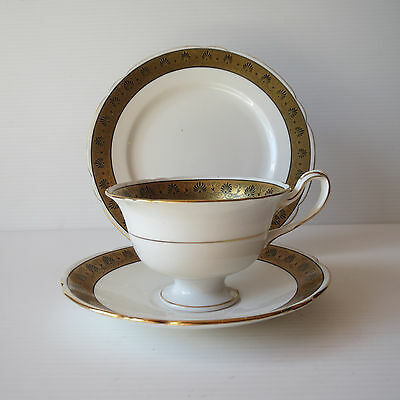 Shelley Gainsborough Gilt Black Tea Trio, Cup, Saucer, Plate 10812 #SE672