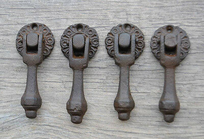 VINTAGE Victorian Cast Iron Drawer Dresser Tear Pear drop Pull handle w plate
