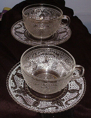 2 Cup & Saucer Sets Federal Glass Co HERITAGE Depression Glass  Crystal