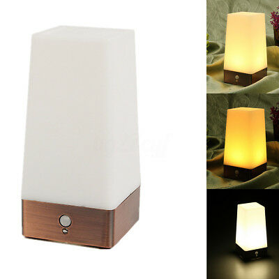Retro Wireless Motion Sensor Battery Powered LED Table Lamp Night Light Bedroom
