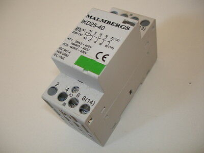 4 pole 40 amp contactor IKD25-40 230 v coil - 2 available (Malmbergs)
