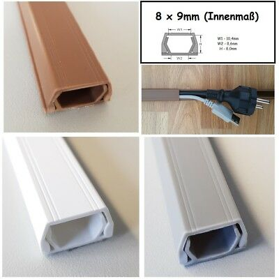 1M Cable Channel 8x9mm (Inside Dimensions) Self Adhesive (Various Connector