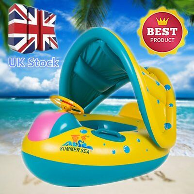 Thicken Safe Baby Float Swiming Seat Boat With Adjustable Inflatable Sunshade UK