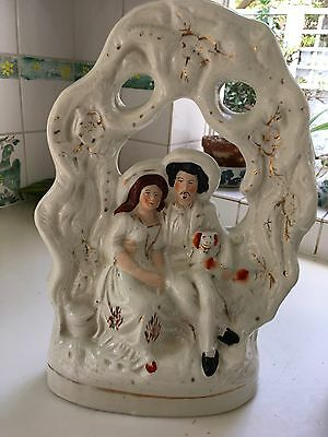 Staffordshire Pottery Couple With Dog