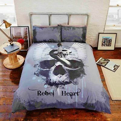 Gothic Vintage Rebel Unique Bedding Duvet Cover Skull Heart Snake Serpent Black