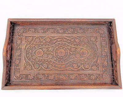 Antique Anglo Indian Carved Wooden Serving or Tea Tray Ornate Design circa 1900