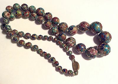 Antique gorgeous Chinese champleve long beads necklace