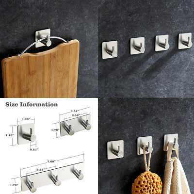 1-3X Adhesive Kitchen Wall Door Stainless Steel Stick Holder Hook Hanger Holder