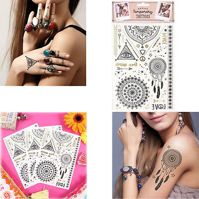 Temporary Fake Tattoos Dreamcatcher Festival Peace Hippie Style Fancy Dress