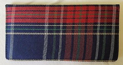 Plaid Fabric Checkbook Cover, New