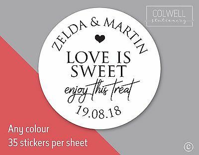 LOVE IS SWEET ENJOY TREAT wedding stickers labels seal names bag jar favours S24