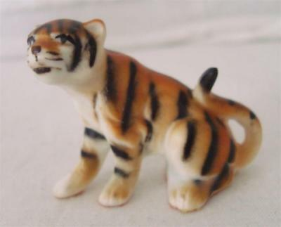 Vintage Bone China Miniature Sitting Tiger