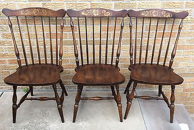 Hitchcock Hitchcocksville Stencil Dining Room Chairs Set of 3 Vintage Wood Seat