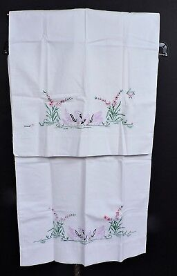 Antique Hand Embroidered Pillow Case Pair / Pillowcases W Swans
