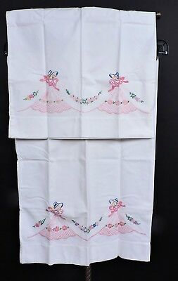 Antique Hand Embroidered Pillow Case Pair / Pillowcases W Women