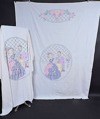 Antique Hand Embroidered Twin Bedspread Pair W Courting Man & Woman