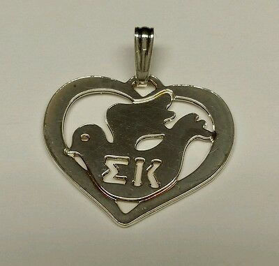 Sterling Silver Sigma Kappa with Dove Heart Charm