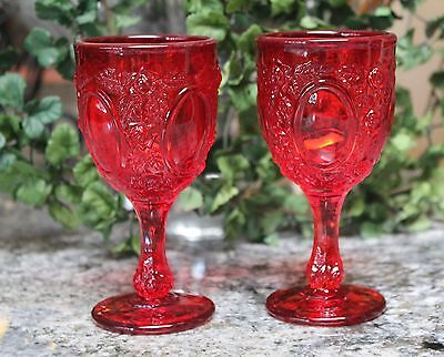 2 Vintage Ruby Wine/Liquor Oval Mirror and Roses Patterned Glasses